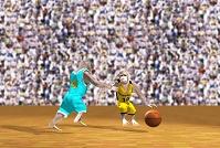 バスケットボールをする猿