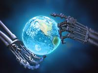 CG ロボットの手と地球