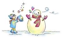 子供 男の子 雪だるま 帽子 ハート