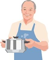 鍋を持つアクティブシニアの日本人男性