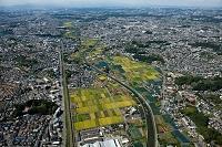 恩田川(鶴見川上流)の小山町地区の畑と十日市場駅(横浜線)方面