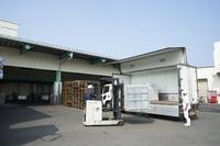 長崎漁港 保冷トラックへ荷積みしている様子