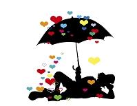 傘をさすピエロのシルエット