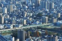 大阪府 阪和線 あべのハルカスから俯瞰した103系普通電車