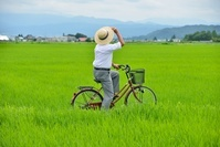 田園を自転車で走る