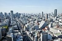 本町ビル群と梅田方面を望む