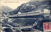 スペインのカンフラン駅が写った絵葉書