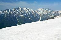 長野県 爺ケ岳の稜線から蓮華岳左と針ノ木岳右の山