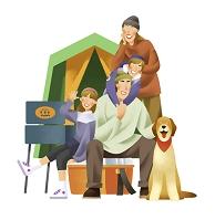 キャンプを楽しむ家族