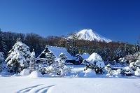 山梨県 富士山と忍野の雪景色
