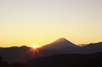山梨県 上高下 富士山と朝日