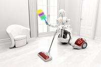 部屋を掃除するロボット