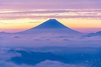 長野県 高ボッチから早朝の富士山