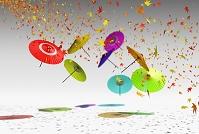 乱舞する和傘と紅葉
