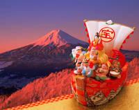 宝船の七福神と富士山
