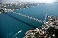 イスタンブール ボスポラス海峡とボスポラス大橋(右がヨーロッ...