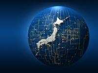 グラフ解析図と回路が入り混じる球体と日本地図
