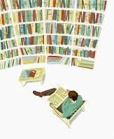 イラスト 本を読む男性