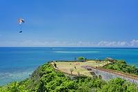 沖縄県 知念岬公園と海 パラグライダー
