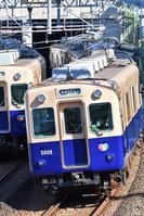 大阪府 阪神電鉄 カーブを曲がる5000系普通電車
