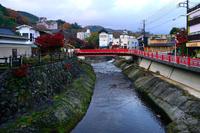 静岡県 修善寺温泉街の虎渓橋と桂川