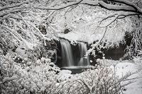 山梨県 雪で覆われた鐘山の滝