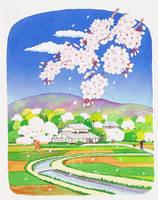 イラスト 農村と桜