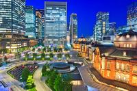 東京都 東京駅 丸の内駅舎の夜景