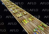 中国・蘇通長江公路大橋 トラックが整列走行