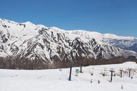 五龍スキー場アルプス平展望台より白馬三山を望む