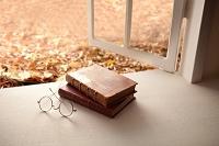 紅葉の窓辺に辞書