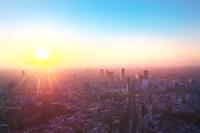 東京都 都市と夕日