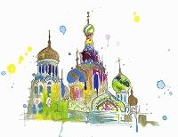 水彩画 ロシアの聖ワシリイ大聖堂