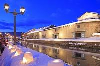北海道 小樽運河の小樽雪あかりの路