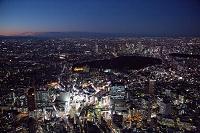 東京都 夜の渋谷駅周辺より新宿方面