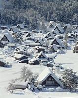 白川郷、荻町合掌造り集落、冬