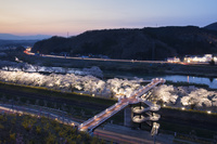 宮城県 しばた千桜橋と白石川堤一目千本桜のライトアップ