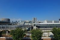 豊洲市場の建設現場と新豊洲方面のビル群