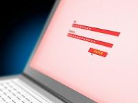 認証画面のノートパソコン