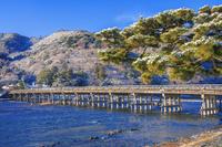 京都府 雪の嵐山 渡月橋朝景