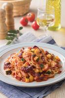 蛸と夏野菜のトマトパスタ