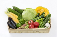 夏野菜の籠盛り