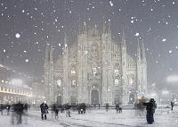 イタリア ミラノ 雪のドゥオーモ広場
