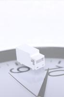 ペーパークラフトの宅配車と時計