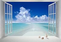 モルディブ 白い窓との海