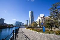 神奈川県 運河パークから見たランドマークタワー