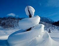北海道 人型の雪ひも
