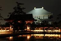 奈良県 東大寺 鏡池と大仏殿