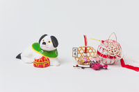 相良土人形毬抱き犬と正月飾り