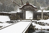 福井県 雪の一乗谷朝倉氏遺跡 唐門